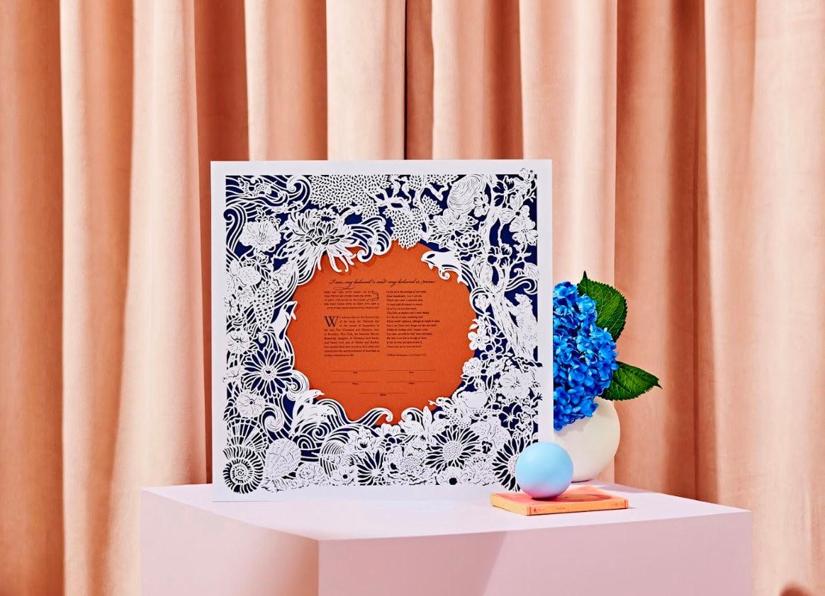 Naomi Shiek Papercut Wedding Vow Art on Etsy