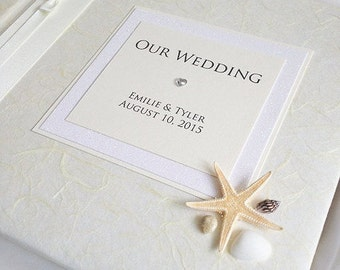 Medium - Beach theme Shells, Starfish Wedding Honeymoon Photo Album Scrap Book