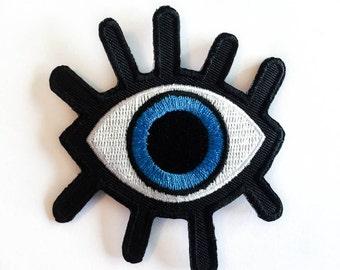 "Eye Patch - Big BLUE Eye - Iron-on Patches - Eyelash - Evil Eye Patch - Embroidery - DIY Denim Jacket - Size 3"" x 3.4"" approx. (P118)"