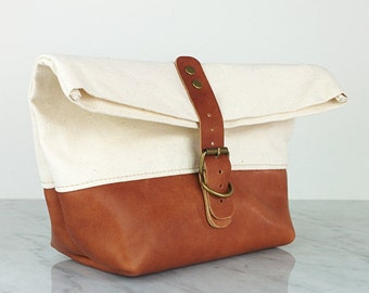 Leather and Canvas Dopp kit, Gift for Men, Gift for Him,  Leather Shaving bag, Toiletry bag, Anniversary Gift, Mens Gift