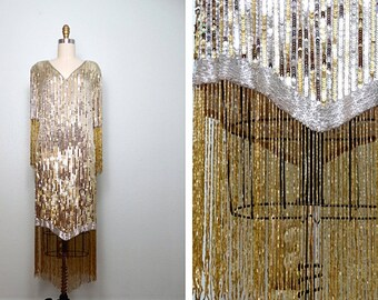 Reserved ** Silver & Gold Fringe Beaded Sequin Dress // Gatsby Wiggle Dress // Fringed Beaded Flapper Dress