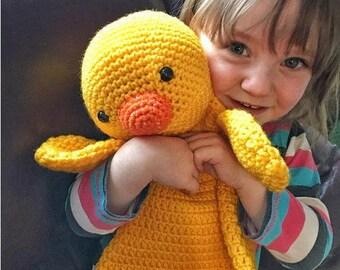 Couverture doudou, doudou, doudou au Crochet, Crochet jouet, jouet doudou canard Lovey, poussin Lovey, jouet de bébé fait à la main, Pâques jouet, cadeau de Pâques