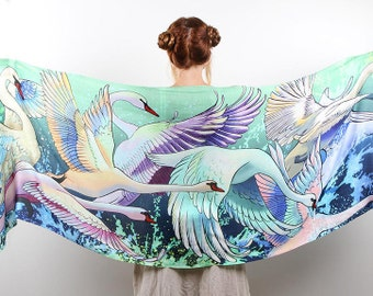 Women Scarf, Pastel Goth Scarf, Bridal Shrug, Swans Scarf, Painted Sarong, Psychedelic, Oversized Scarf, Bohemian Scarf, Silk Sarong