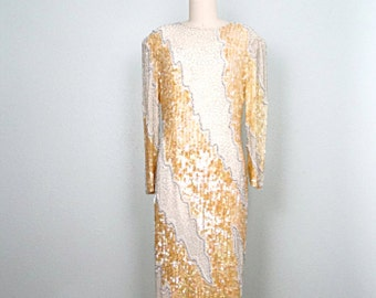 VTG Iridescent Gold Sequined Beaded Gown // Champagne Gold Ivory Silver Embellished Dress