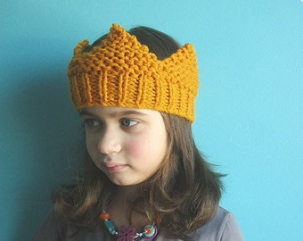 English-French Two Needle KNITTING PATTERN / Digital Download / #6 / Knitted Crown / 6-16M to 5 years-Adult / US11 / 8mm