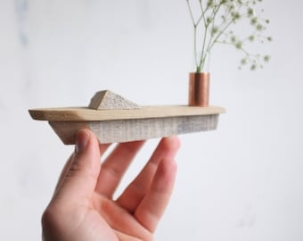 Small speed boat bud vase - driftwood handmade miniature boat with copper and glass flower vase - rustic beach or lake decor