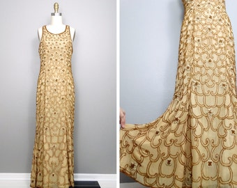 HEAVY Gold Beaded Gown • Gold Embellished Dress • Golden Goddess Art Deco Gown
