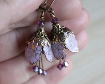 Romantic Wedding, Flower Earrings Earrings, Lavender, Purple Wedding, Romantic Wedding Jewelry, Bridesmaids Earrings, Bridesmaid Gift