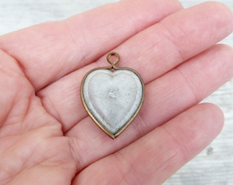 Vintage Antique 1910/1930 French heart brass metal & silvered metal  pendant