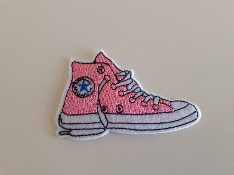Pink Sneaker Shoe IronSew On Patch Retro Novelty Shoes Trainers Running Shoe Style Fashion Bag Jacket Jeans Bag