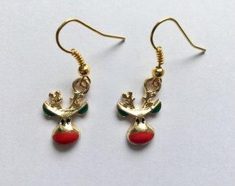 Rudolph Earrings, Reindeer Earrings, Rudolph Jewellery, Christmas Earrings, Christmas Jewellery, Stocking Filler, Gift for Friend, Birthday
