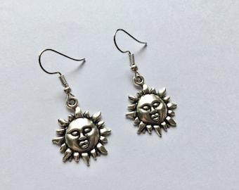 Sun Earrings, Sun Jewellery, Boho Jewellery, Indie Earrings, Silver Earrings, Gift for Her, Gift for Friend, Birthday Gift, Fun Earrings