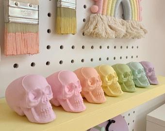 Rainbow skulls, skull decor, Halloween skulls, skull decoration, pastel skulls