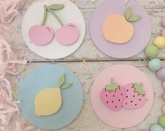 Fruit plaque, fruit sign, kawaii decor, pegboard decor, fruit nursery decor, tiered tray decor