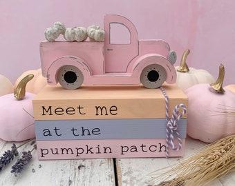 Pumpkin patch book stack, pumpkin van, pastel pumpkins, tiered tray decor