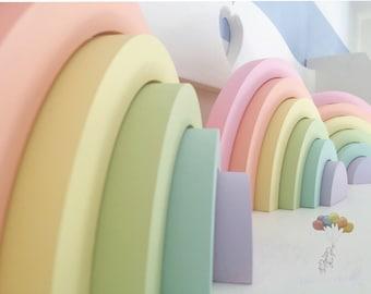 Wooden rainbow, wooden stackable rainbow, rainbow stacker, stacking rainbow, rainbow nursery decor, rainbow baby gift, pastel rainbow,
