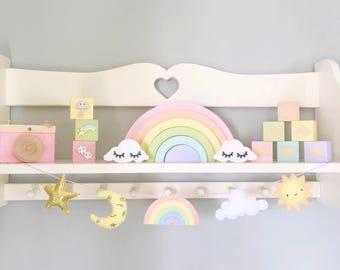 Rainbow Garland, rainbow bunting, weather garland, moon and stars, rainbow baby gift, pastel garland, star nursery bunting, pastel nursery