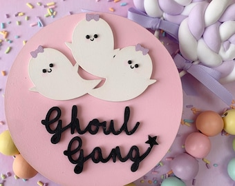 Ghoul gang Halloween plaque, Halloween sign, Halloween plaque, ghost plaque, ghost decor