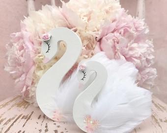 Swan nursery decor, swan princess, swan lake, swan shelfie, freestanding swan, swan decor, swan decoration, cygnet, swan shelf decor