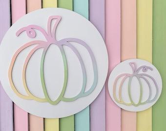 Pumpkin plaque, rainbow pumpkin, pastel pumpkin, ombré pumpkin