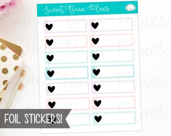 FOIL Heart Label Boxes Pastel Functional Planner Stickers