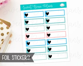 FOIL Heart Label Boxes Summer Functional Planner Stickers