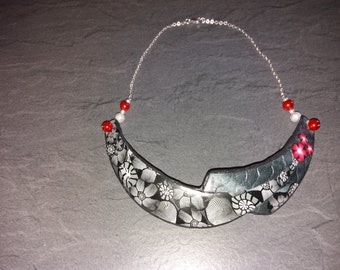 Silver Ceramic and Fimo necklace