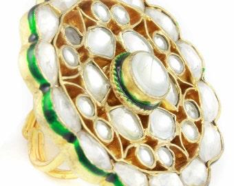 Kundan Jodha Rani  Large Ring