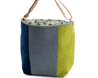 "Small bucket bag ""Basil"", Green, Blue Jeans, Navy Blue, Canvas bag, Handbag, Shoulder bag, Top handle bag, Leather handle"