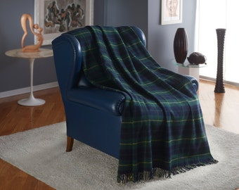 TARTAN Plaid Throw Blanket CASHMERE and Wool with fringes Blue, Grey, Dove Grey color Christmas gift made by craftsmen Italy Free Shipping