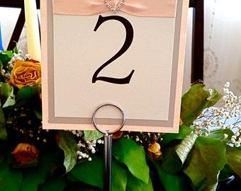 Wedding Table Number Card, Blush Wedding Table Number Card, Blush Pink Wedding Table Number Card