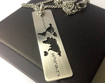 Coordinate Necklace / Wanderlust Necklace / World Map Necklace / Travel Necklace / Long Distance Relationship