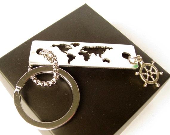 Stainless steel keychain / Custom keychain / Metal keychain / World map key  chain / Travel keychain / Wanderlust / Nautical keychain / Wheel