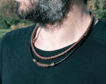 Double Braided Leather Necklace, Goa Brown Leather Chocker, Adjustable Men's Surfer Necklace, Unisex Collar, Layered Double Choker Necklace