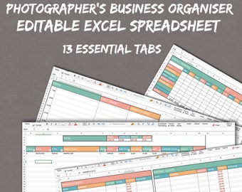 Photographers Excel Planner Spreadsheets For Business Photography Organise Self Employed