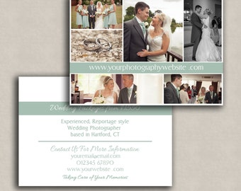 Wedding Photoshop Marketing Template for photographers, customisable template, photography psd file, double sided marketing templates