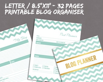 Blogger Organiser Printable Pages for blog planning, blog planner daily to do, instant download, letter 8.5x11 printable planner bloggers