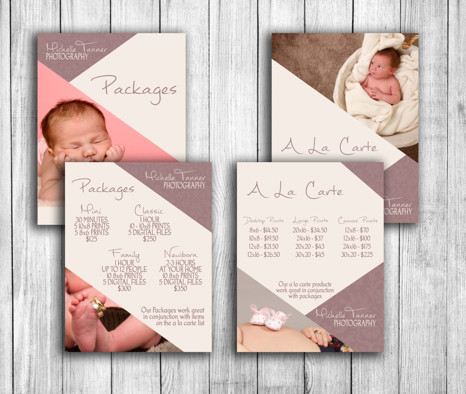 Price guide template for photographers with matching a la carte, lace price  list templates, photoshop pricing files psd instant download