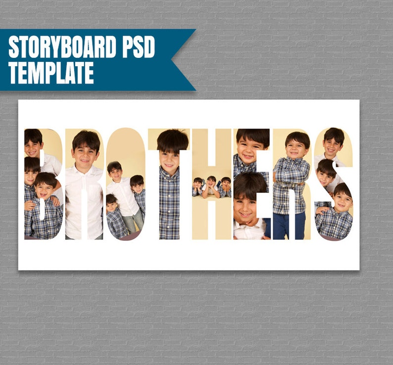 instant download Brothers Storyboard Template photography template photographer moodboard photoshop brothers board psd Collage Template
