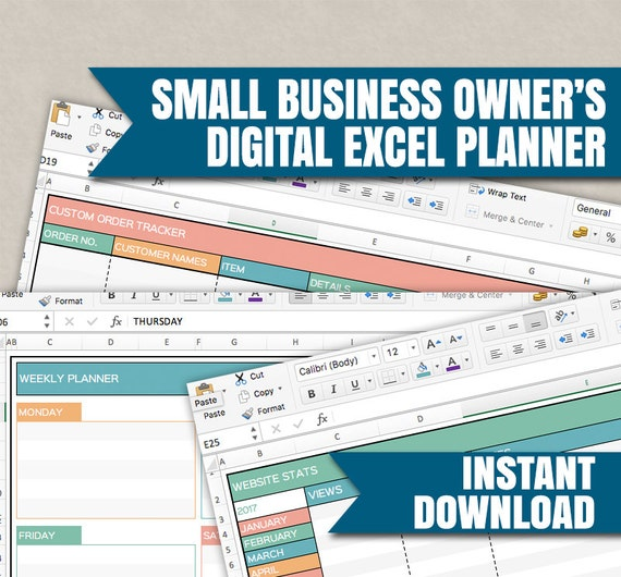 small business planner digital excel spreadsheets for small etsy