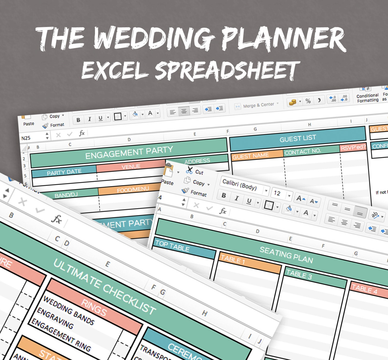 Wedding Planner Spreadsheet excel wedding planner organise | Etsy