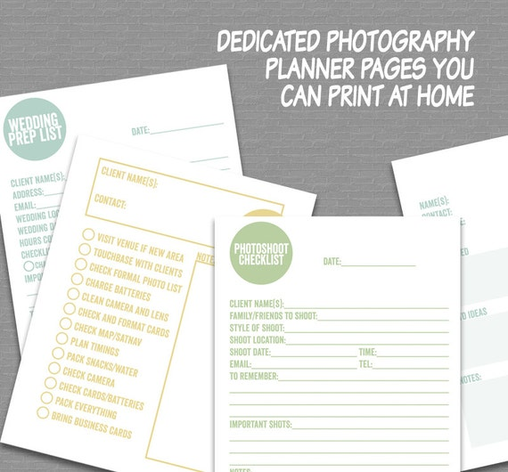 Photography Planner Printable 85x11 Letter And