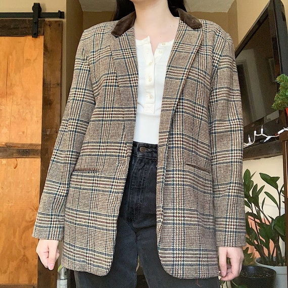 vintage plaid oversized blazer
