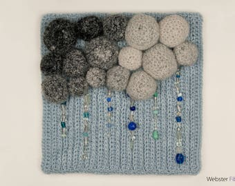 Mammatus: A Crocheted, Blue and Gray, Beaded, Stormy Skies, Handmade, Fiber Art Wall Hanging by Annie Webster