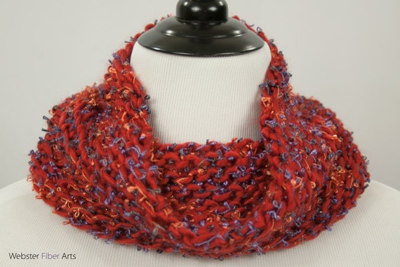 Autumn Palace Loom Knit Cowl An Orange And Purple Acrylic Etsy