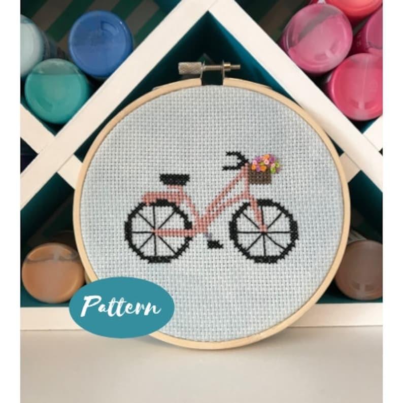 Beginner Cross Stitch Pattern: Bicycle / Custom Embroidery Design Kit / DIY  Craft Kits for Adults / PDF File Download / Bike Decor Hoop Art