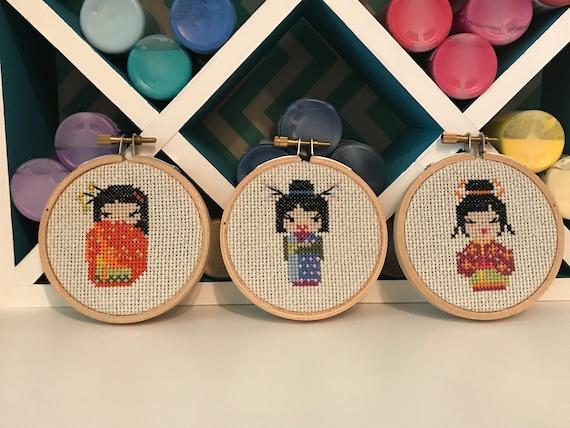 Handmade Cross Stitch Hoop Set Geisha Dolls Custom Embroidery