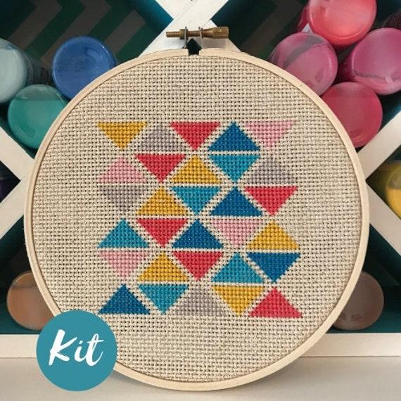 Beginner Cross Stitch Kit: Geometric Triangles / Custom Embroidery