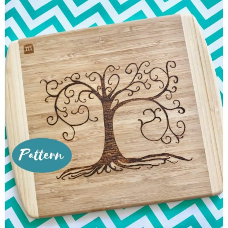 Custom Wood Burning Patterns Swirly Tree Easy Pattern Template Design Pyrography Art Instant Download Pdf File Cutting Board