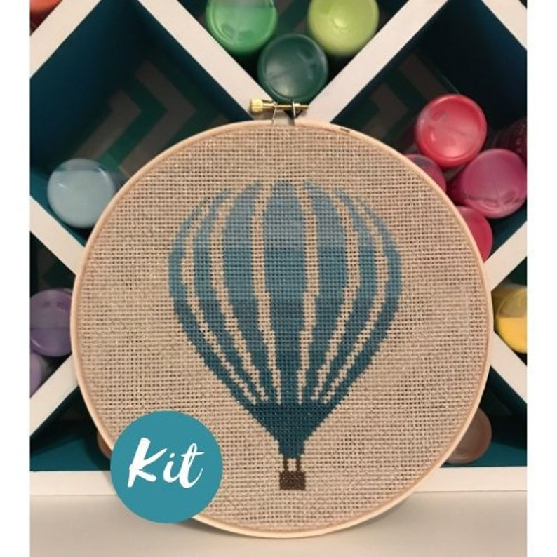 Beginner Cross Stitch Kit: Hot Air Balloon / Custom Embroidery Design  Pattern / DIY Craft Kits for Adults / PDF Decorations Decor Hoop Art